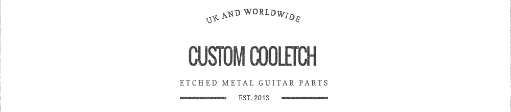 Custom CoolEtch – etched metal guitar parts logo